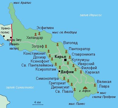 Карта Афона