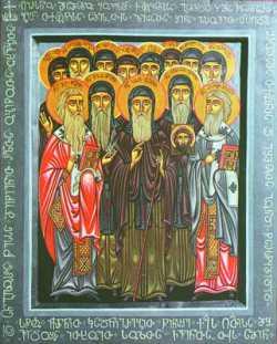 Прпп. Иоанн Зедазнийский и 12 сирийских отцов. Икона, нач. XXI в., Грузинская Патриархия
