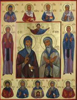 """""""Спаситель и тринадцать ассирийских отцов"""". Икона кон. XX в. (Иконописец Давид Хидашели)"""