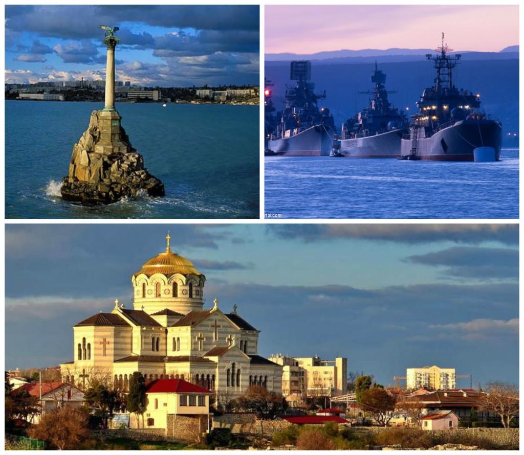 на фото: Памятник затопленным кораблям, Владимирский собор